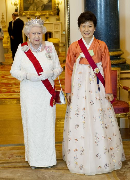 Queen Elizabeth II, Prince Philip And Park Geun-Hye Attend State Banquet At Buckingham Palace