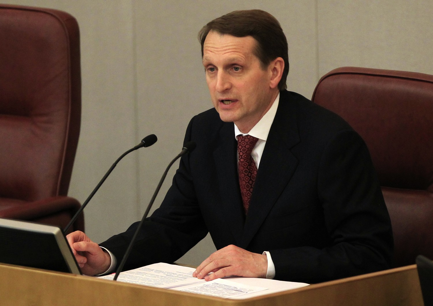 Sergei Naryshkin of United Russia, the newly elected parliament speaker, heads the opening session in Moscow on Wednesday, Dec. 21, 2011. (AP Photo/ Sergey Ponomarev) / SCANPIX Code: 436