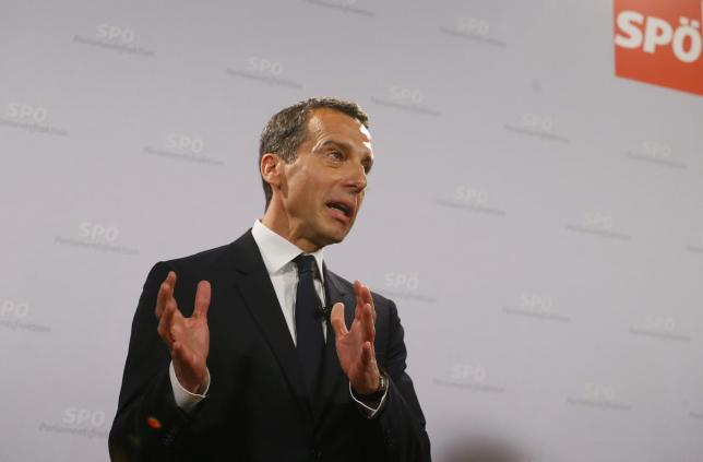 Designated Austrian Chancellor Christian Kern of the Social Democratic Party (SPOe) speaks during a news conference in Vienna, Austria, May 17, 2016. REUTERS/Heinz-Peter Bader
