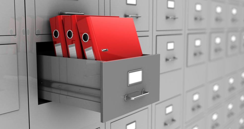 Open box with three red folders, 3d image